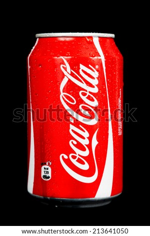 ZAGREB, CROATIA - AUG 28, 2014: Editorial photo of Coca-Cola. Coca Cola is a carbonated soft drink sold in stores, restaurants, and vending machines throughout the world. CROATIA - August 28, 2014 - stock photo