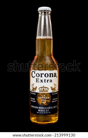 ZAGREB, CROATIA - AUG 30, 2014: Editorial photo of Corona Extra beer. Corona is a pale lager produced by Cervecer�­a Modelo in Mexico for domestic distribution and export. CROATIA - August 30, 2014 - stock photo
