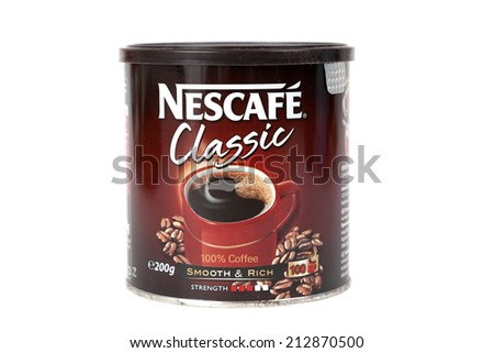 "ZAGREB, CROATIA - AUG 24, 2014: Editorial photo of Nescafe coffee. The brand of instant coffee made by Nestle.The name is a portmanteau of the words ""Nestle"" and ""cafe"". CROATIA - August 24, 2014 - stock photo"