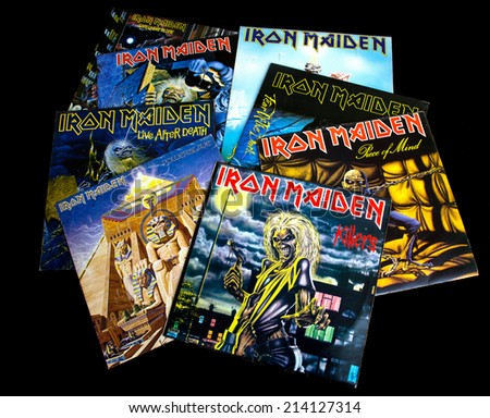 ZAGREB , CROATIA - AUGUST 31 - collection of old vinyl records of rock group Iron Maiden , product shot - stock photo