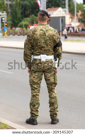 Zagreb, Croatia - August 1, 2015: Croatian Army soldier in Parade rest position.