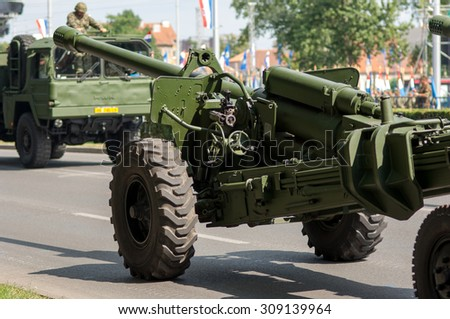 Zagreb, Croatia - August 1, 2015: Demonstration of Croatian army corps during military parade rehearsal held in celebration of 20th anniversary of liberation of Croatia.