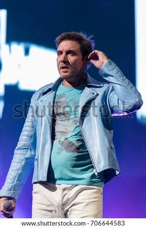 ZAGREB, CROATIA - AUGUST 29, 2017:Duran Duran Paper gods on tour 2017 at Salata Zagreb. Simon Le Bon singer of the band Duran Duran on stage