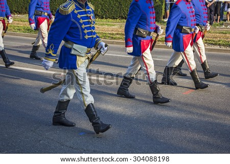 Zagreb, Croatia - August 04, 2015: Festive Military parade of the Croatian army in historic uniforms on the anniversary of the liberation action Storm in Zagreb.