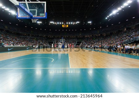 ZAGREB, CROATIA - AUGUST 26, 2014: Friendly basketball game - Croatia vs Lithuania.  - stock photo