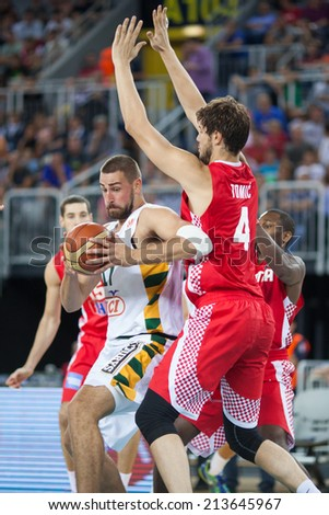 ZAGREB, CROATIA - AUGUST 26, 2014: Friendly basketball game - Croatia vs Lithuania. Jonas VALANCIUNAS (17) abd Ante TOMIC (4)