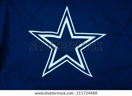 ZAGREB , CROATIA - AUGUST 19 , 2014 :  NFL Dallas Cowboys club logo printed on textile equipment ,product shot  - stock photo