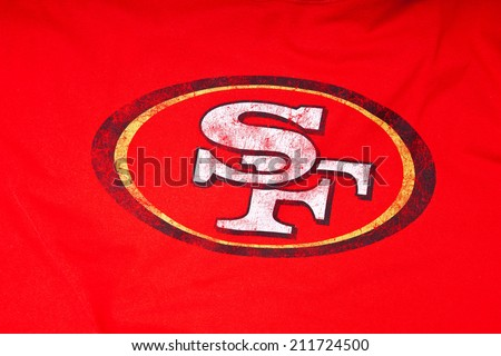 ZAGREB , CROATIA - AUGUST 19 , 2014 :  NFL San Francisco 49ers club logo printed on textile equipment ,product shot   - stock photo