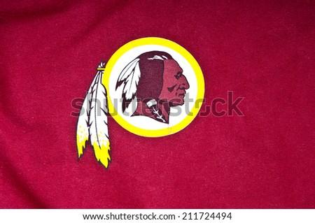 ZAGREB , CROATIA - AUGUST 19 , 2014 :  NFL Washington Redskins club logo printed on textile equipment ,product shot   - stock photo