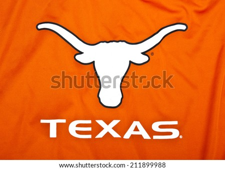 ZAGREB , CROATIA - AUGUST 19 , 2014 : Texas Longhorns university logo printed on textile equipment ,product shot   - stock photo
