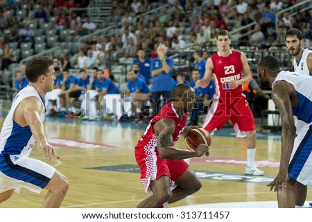 ZAGREB, CROATIA - AUGUST 28, 2015: The preparatory match ahead of the EuroBasket 2015 between Croatia and Israel. Croatian player Draper with the ball