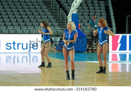 ZAGREB, CROATIA - AUGUST 27, 2015: The preparatory match ahead of the EuroBasket 2015 between Israel and Estonia. Cheerleaders performing on break and entertaining the visitors.