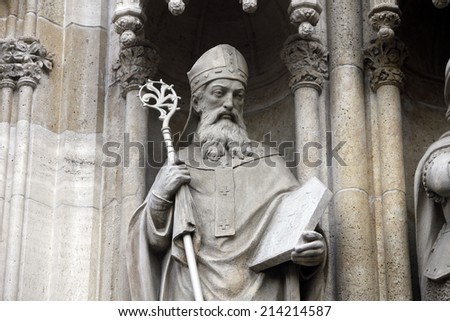 ZAGREB, CROATIA - DEC 03: Statue of Saint Methodius on the portal of the cathedral dedicated to the Assumption of Mary and to kings Saint Stephen and Saint Ladislaus in Zagreb on Dec 03, 2011.