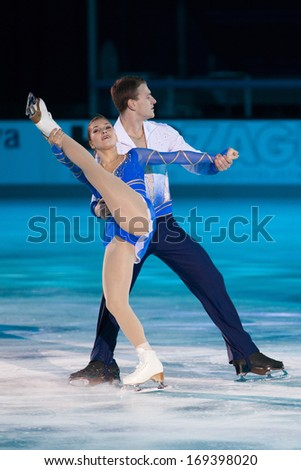 ZAGREB, CROATIA - DECEMBER 17, 2013: Andrea DAVIDOVICH and Evgeni KRASNOPOLSK performing at Gala revue of 46th Golden Spin of Zagreb, the oldest skating competition in the world.