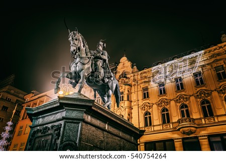 ZAGREB, CROATIA - December 18, 2016: Ban Jelacic statue ready for the New Years Eve 2017 on the main square in the city center.