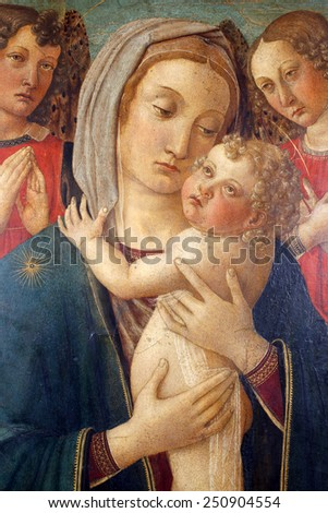 ZAGREB, CROATIA - DECEMBER 12: COSINE ROSSELLA: Madonna with Child and two angels exhibited at the Great Masters renesnse in Croatia, opened December 12, 2011. in Zagreb, Croatia - stock photo