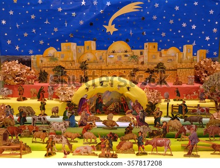 ZAGREB, CROATIA - DECEMBER 23: Exhibition of Christmas mangers at the Ethnographic Museum in Zagreb, Croatia on December 23, 2014 - stock photo