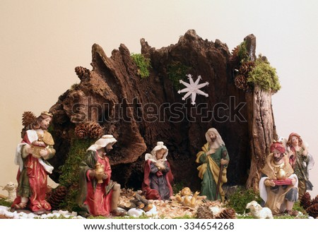 ZAGREB, CROATIA - DECEMBER 17: Exhibition of Christmas mangers at the monastery of the Sisters Servants of the Infant Jesus in Zagreb, Croatia on December 17, 2014 - stock photo