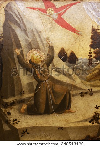 ZAGREB, CROATIA - DECEMBER 08: Fra Angelico: The stigmatization of St. Francis of Assisi, Old Masters Collection, Croatian Academy of Sciences, December 08, 2014 in Zagreb, Croatia - stock photo