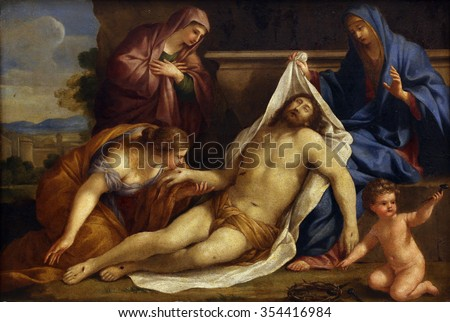 ZAGREB, CROATIA - DECEMBER 08: Giovanni Francesco Romanelli: Lamentation of Christ, Old Masters Collection, Croatian Academy of Sciences, December 08, 2014 in Zagreb, Croatia - stock photo