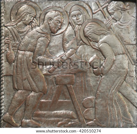 ZAGREB, CROATIA - DECEMBER 07: Holy Family on the altar of the Virgin Mary in the church of Saint Blaise in Zagreb, Croatia on December 07, 2011 - stock photo