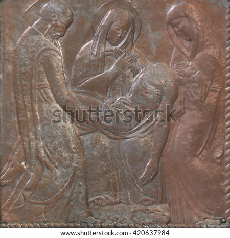 ZAGREB, CROATIA - DECEMBER 07: Jesus is laid in the tomb, altar of the Virgin Mary in the church of Saint Blaise in Zagreb , Croatia on December 07, 2011 - stock photo