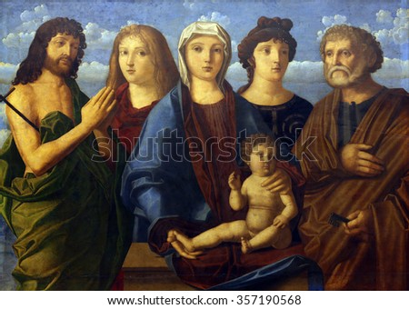 ZAGREB, CROATIA - DECEMBER 08: Madonna and Child St. John the Baptist and Peter and donors, Old Masters Collection, Croatian Academy of Sciences, December 08, 2014 in Zagreb, Croatia - stock photo