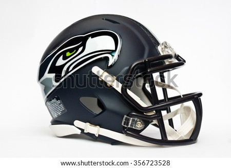 ZAGREB , CROATIA - 30 DECEMBER 2015 - NFL Seattle Seahawks helmet isolated on white background , product shot