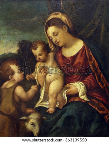 ZAGREB, CROATIA - DECEMBER 08: Polidoro to Lanciano: Madonna and Child with St.. John, Old Masters Collection, Croatian Academy of Sciences, December 08, 2014 in Zagreb, Croatia