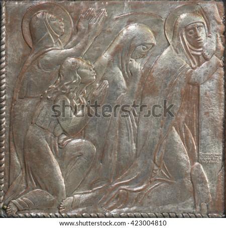 ZAGREB, CROATIA - DECEMBER 07: Scenes from the life of the Virgin Mary on the altar of the Virgin Mary in the church of Saint Blaise in Zagreb, Croatia on December 07, 2011 - stock photo