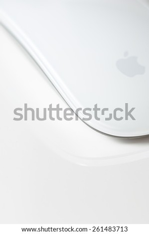 ZAGREB, CROATIA - February 15, 2015: Apple Magic Mouse. The Magic Mouse is the first consumer mouse to have multi-touch capabilities.