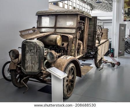 ZAGREB, CROATIA -  FEBRUARY 23, 2014: Car museum Ferdinand Budicki, first car museum in Zagreb. Praga R oldest vehicle exhibited at the museum, Zagreb, Croatia - stock photo