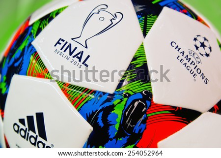 ZAGREB , CROATIA - 19 FEBRUARY 2015 - close up of European champions league official football from Adidas, product shot - stock photo