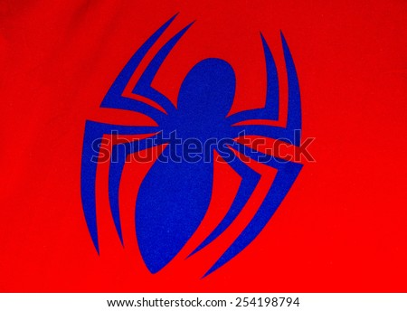 ZAGREB , CROATIA - 19 FEBRUARY 2015 - close up spiderman logo printed on his costume shirt, product shot - stock photo