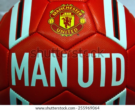 ZAGREB , CROATIA - 19 FEBRUARY 2015 - Logo of english football club Manchester united printed on ball, product shot - stock photo