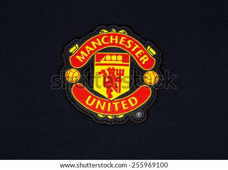 ZAGREB , CROATIA - 19 FEBRUARY 2015 - Logo of english football club Manchester united printed on shirt, product shot - stock photo