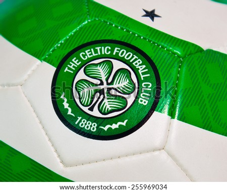ZAGREB , CROATIA - 19 FEBRUARY 2015 - Logo of scottish football club Celtic from Glasgow printed on ball, product shot - stock photo