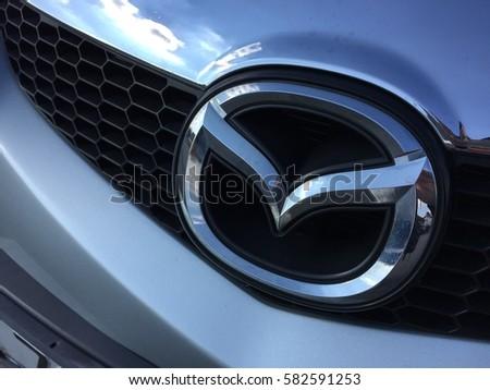 ZAGREB, CROATIA - FEBRUARY 19, 2017. - Mazda sign on car.