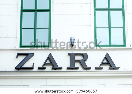 ZAGREB, CROATIA - FEBRUARY 24 : Zara logo above the store in the street Ilica on February 24th, 2014 in Zagreb, Croatia. Zara is a Spanish clothing and accessories retailer.