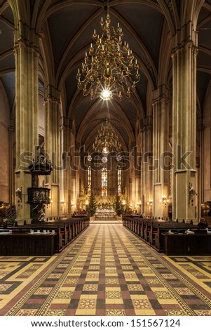 ZAGREB, CROATIA - JAN 2: Interior of Cathedral dedicated to Assumption of Mary and kings Saint Stephen and Ladislaus on January 2, 2011 in Zagreb, Croatia. The building is 46 m wide and 108 m high. - stock photo