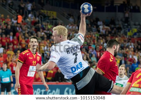ZAGREB, CROATIA - JANUARY 17, 2018: European Championships in Men's Handball, EHF EURO 2018 main round match Germany vs. FYR Macedonia 25:25. In action Patrick WIENCEK (7)