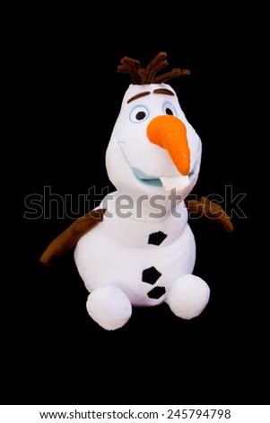ZAGREB , CROATIA - 20 JANUARY 2015 - toy of popular children character from movie frozen , snowman Olaf , product shot - stock photo