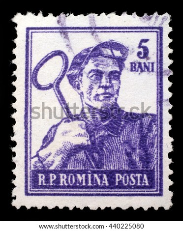 ZAGREB, CROATIA - JULY 18: A stamp printed in Romania shows steel-worker, circa 1950s, on July 18, 2012, Zagreb, Croatia - stock photo