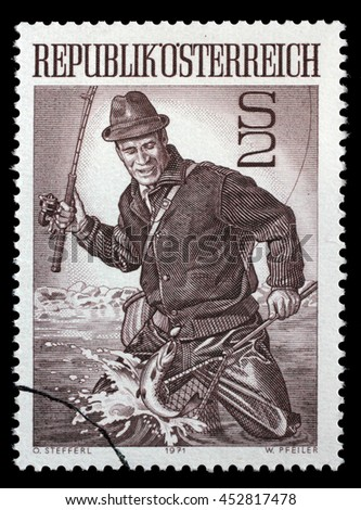 ZAGREB, CROATIA - JULY 03: a stamp printed in the Austria shows Trout Fisherman, circa 1971, on July 03, 2014, Zagreb, Croatia