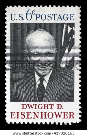 ZAGREB, CROATIA - JULY 03 : A stamp printed in USA shows Dwight D. Eisenhower, 34rd President (1890-1969), circa 1969, on July 03, 2012, Zagreb, Croatia