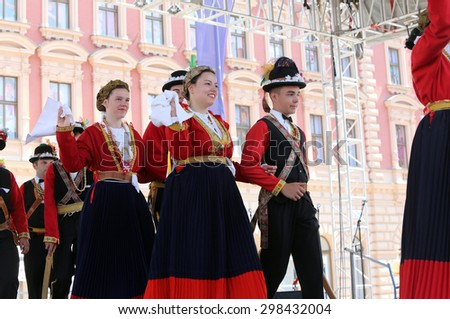 ZAGREB, CROATIA - JULY 17: Members of folk group from Lastovo, Croatia during the 49th International Folklore Festival in center of Zagreb, Croatia on July 17, 2015 - stock photo