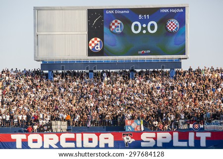 ZAGREB, CROATIA - JULY 12, 2015: 1st Croatian Football League Championship - Dinamo VS Hajduk. Hajduk's supporters Torcida on south stand. - stock photo