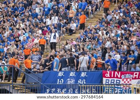 ZAGREB, CROATIA - JULY 12, 2015: 1st Croatian Football League Championship - Dinamo VS Hajduk. Dinamo supporters on west stand. - stock photo