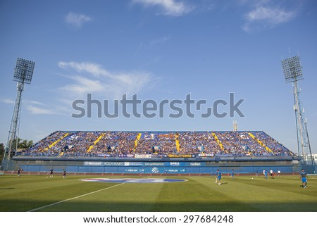 ZAGREB, CROATIA - JULY 12, 2015: 1st Croatian Football League Championship - Dinamo VS Hajduk. East stand of Maksimir stadium. - stock photo