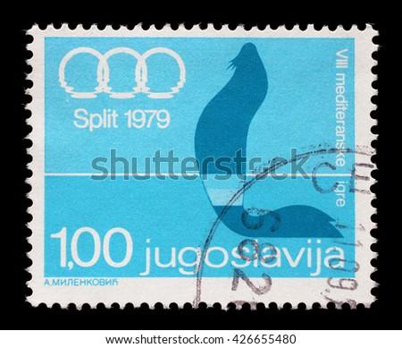 ZAGREB, CROATIA - JUNE 14: A stamp printed by Yugoslavia shows 8th Mediterranean Games in Split, circa 1979, on June 14, 2014, Zagreb, Croatia - stock photo